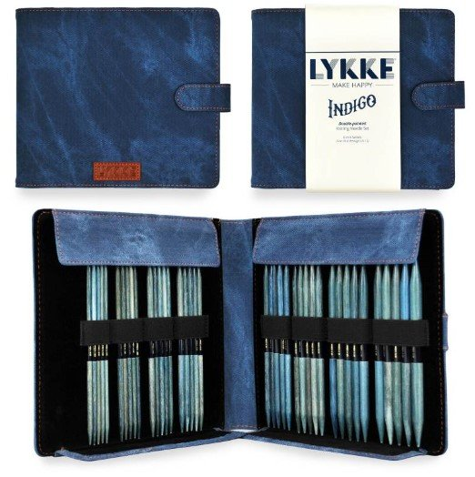 Lykke Indigo 6 Large Double-Point Needle Set - Blue Denim