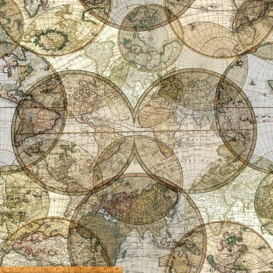 51386D-X Seven Seas World Globes 108 by Windham Fabrics