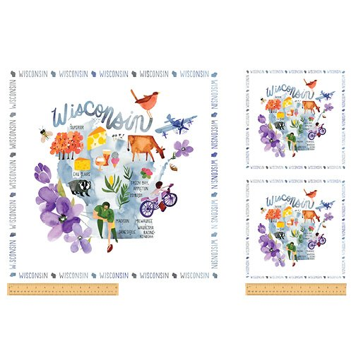 51558P-X Wisconsin State Panel  by Windham Fabrics