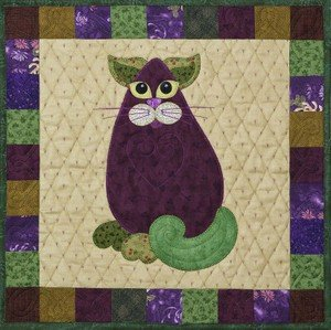 SQ10 - Garden Patch Cats -Eggplant Purrmesan Cat Block 10