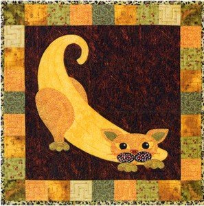 SQ19 - Garden Patch Cats -Banana Cat Block 19