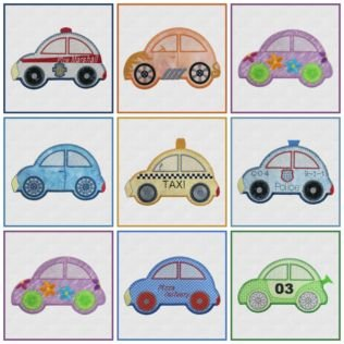 Cute Car - Embroidery Designs by Marjorie Busby