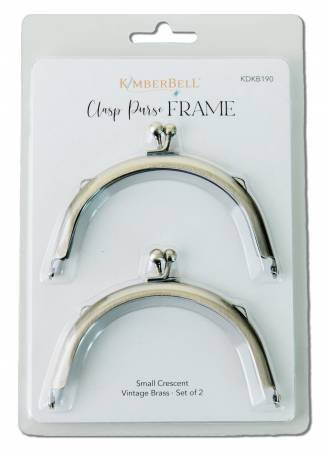 Small Crescent Clasp Purse Frame Vintage Brass 2pc