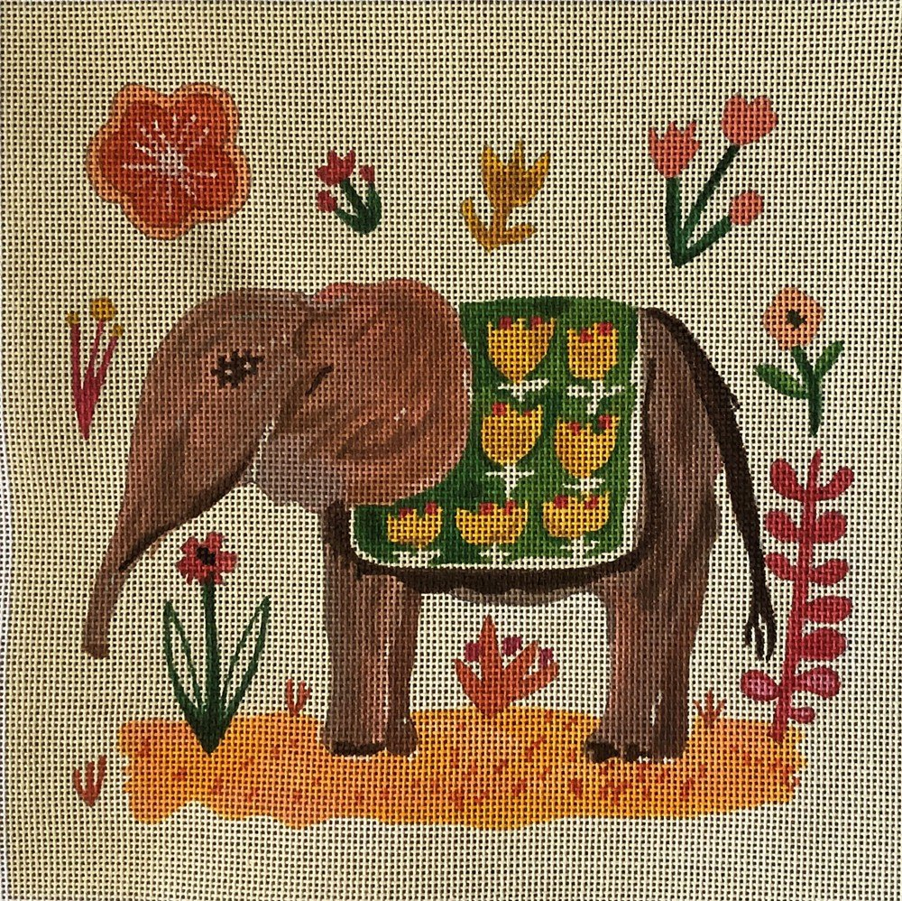 CGPL03 - LEFT FACING ELEPHANT WITH GREEN BLANKET