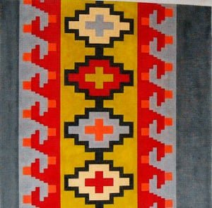 C515K - KILIM WAVE IN RED, GRAY, YELLOW, GREEN