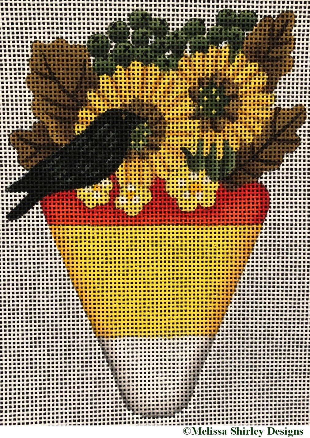 2236A - BLACK BIRD ON CANDY CORN