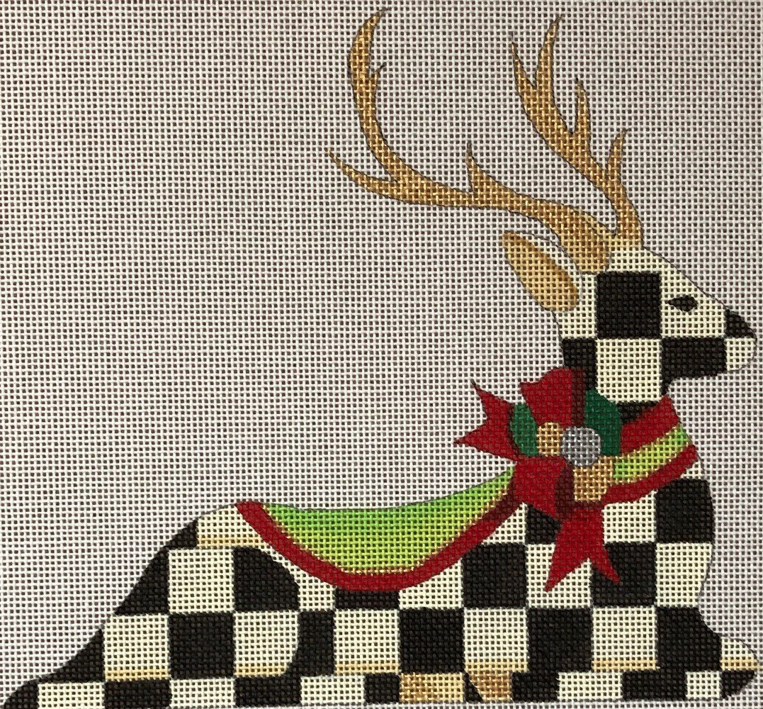 HO1757 - RECLINING CHECKED REINDEER - RIGHT