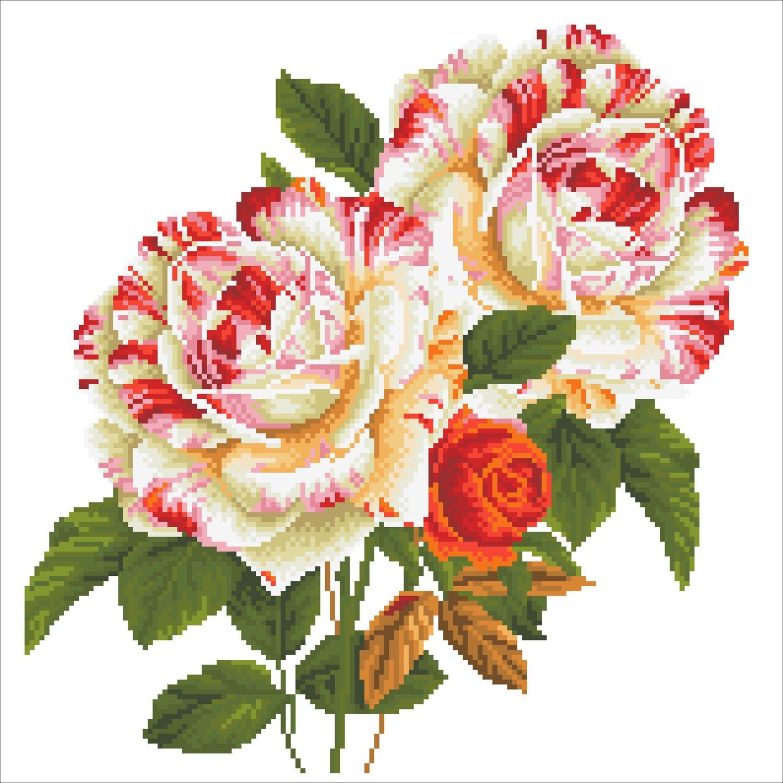 Diamond Dotz Intermediate 17.3 x 17.3 Camelia and Rose Bouquet Decorative Pillow