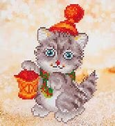 Diamond Dotz Beginner 9 x 9.8 Christmas Kitten Glow