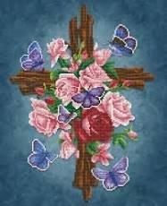 Diamond Dotz Intermediate 19.8x23.7 Flower Cross