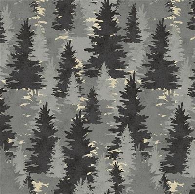 Wildlife Flannel  - Trees Pewter