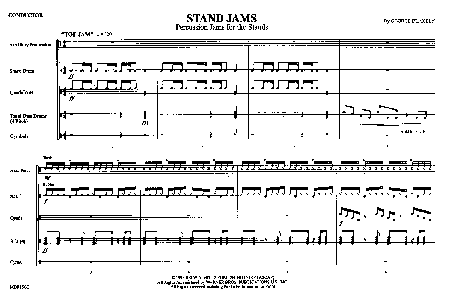 STAND JAMS PERCUSSION JAMS FOR THE STANDS BLAKELY