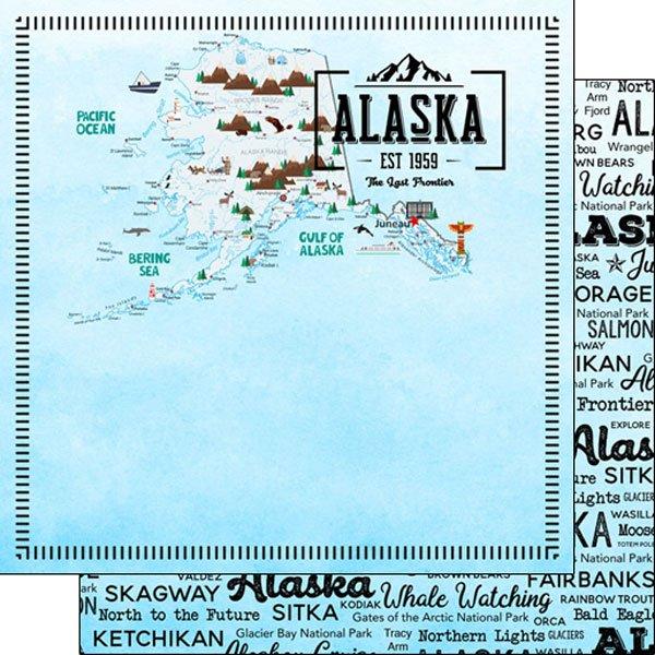 Alaska postage map, 12x12 paper, dbl sided