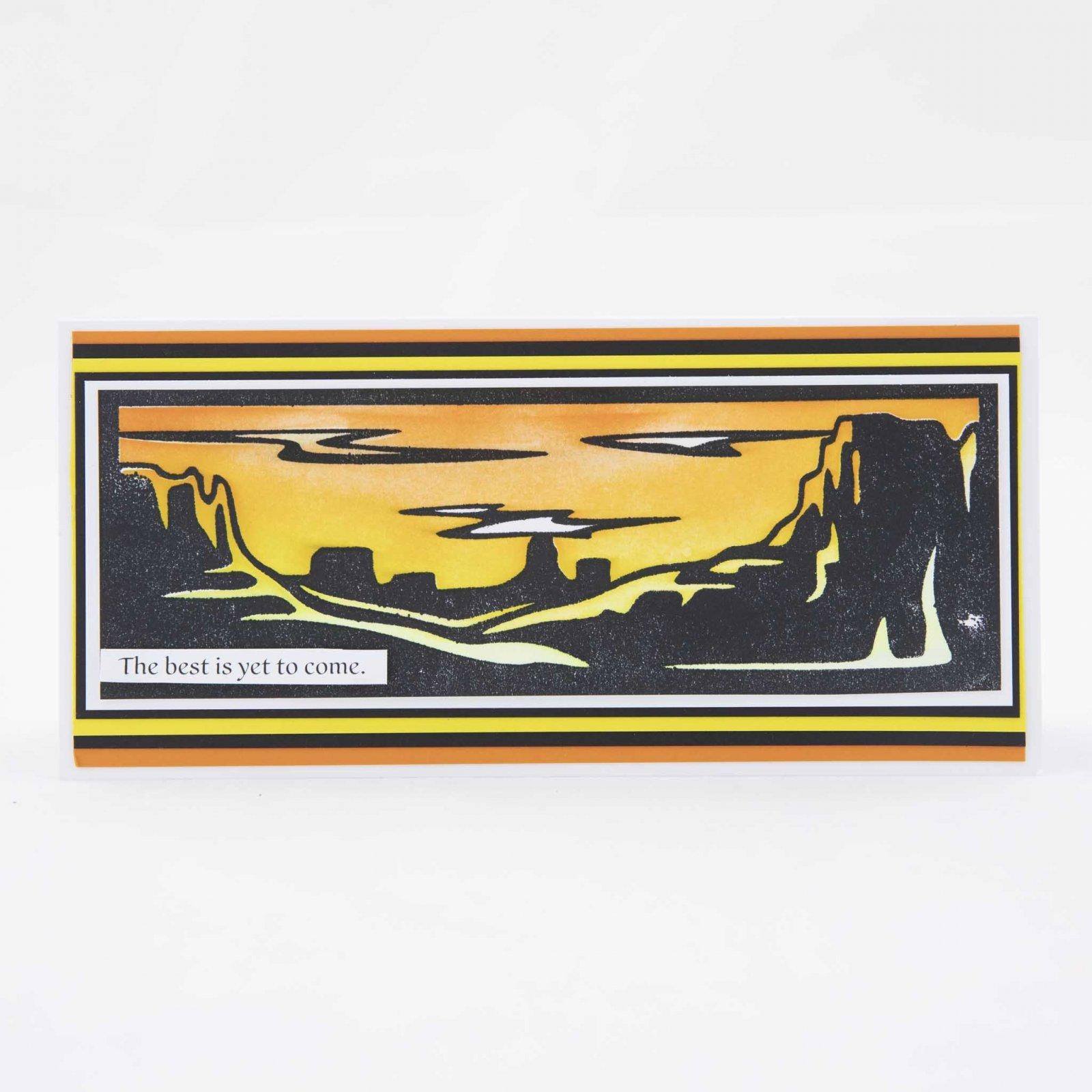 Grand Canyon Slimline-Maker Forte Stamp & Stencil By Hedgehog Hollow 3.25X8