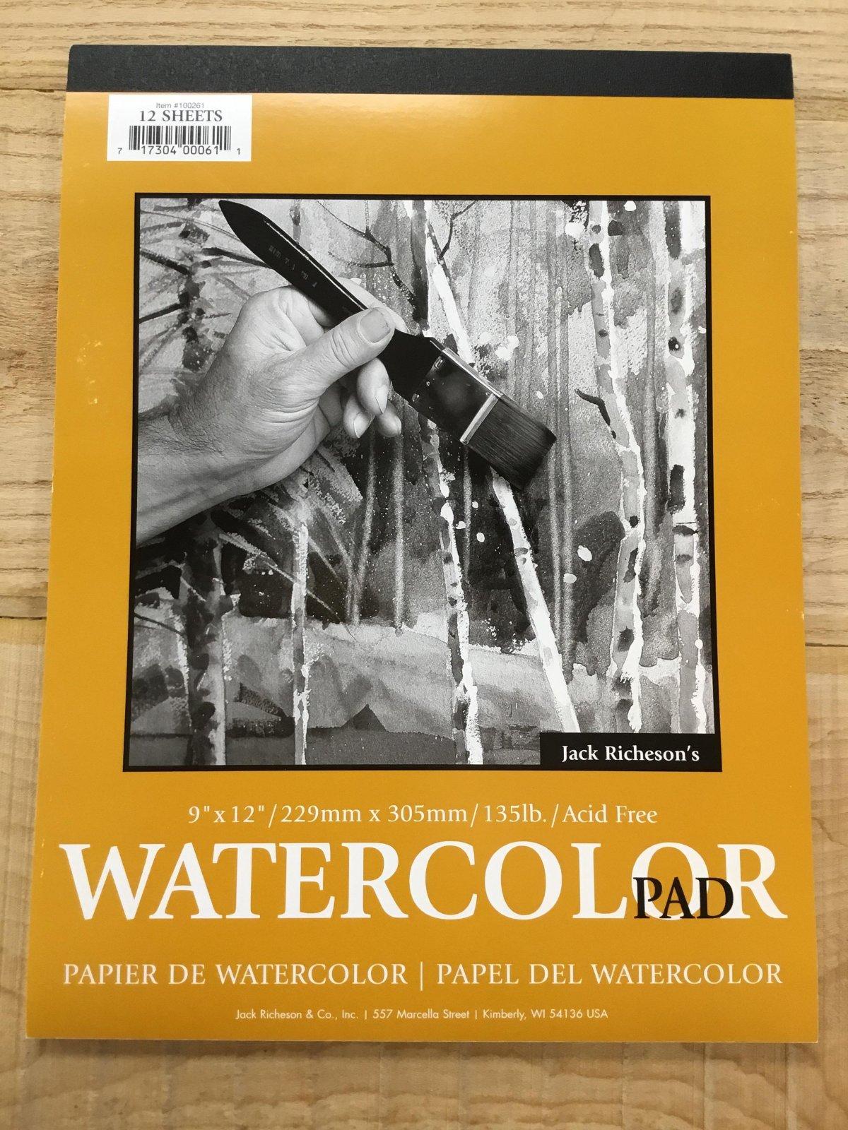 "Watercolour paper, 88#, 9x12"", 12 sheets"