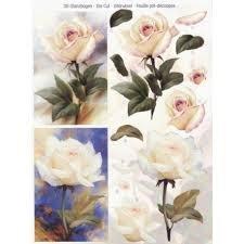 3D Stanzbogan Die Cut White Roses