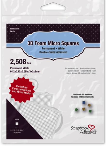 Scrapbook Adhesives 3D Foam Micro Squares 2508/Pkg-Permanent, White, 0.12X 0.12