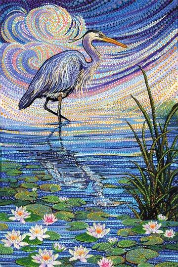 Water Garden Blue Heron Panel