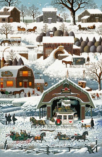 WINTER VILLAGE - 24in PANEL