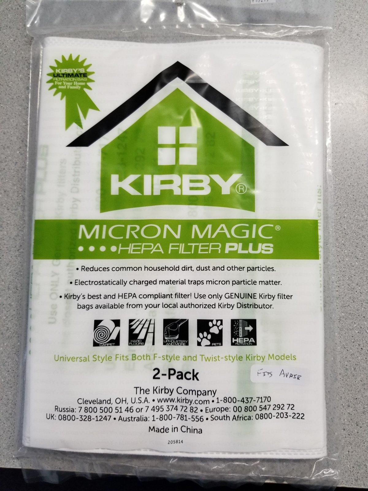Kirby 2 Pk Hepa Green Plus Universal Style Bag 205814