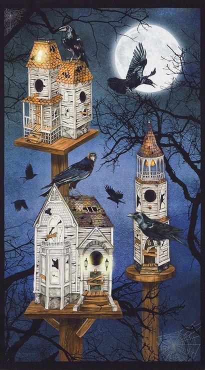 Raven Moon Birdhouse Panel SPOOKY