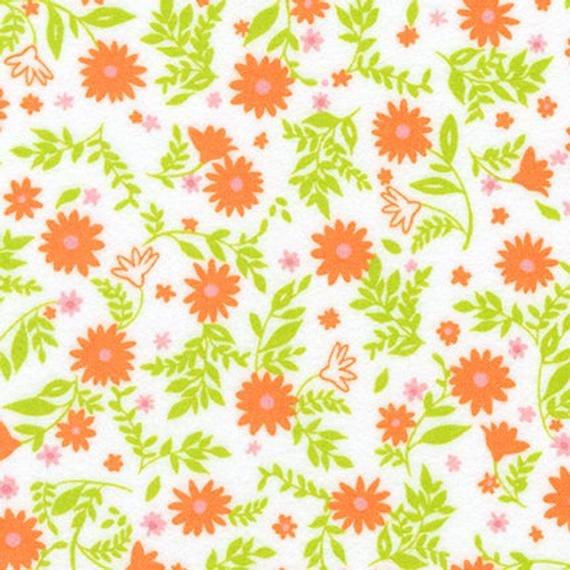 Cozy Cotton Flannel Tiny Flowers ORANGE  WHITE