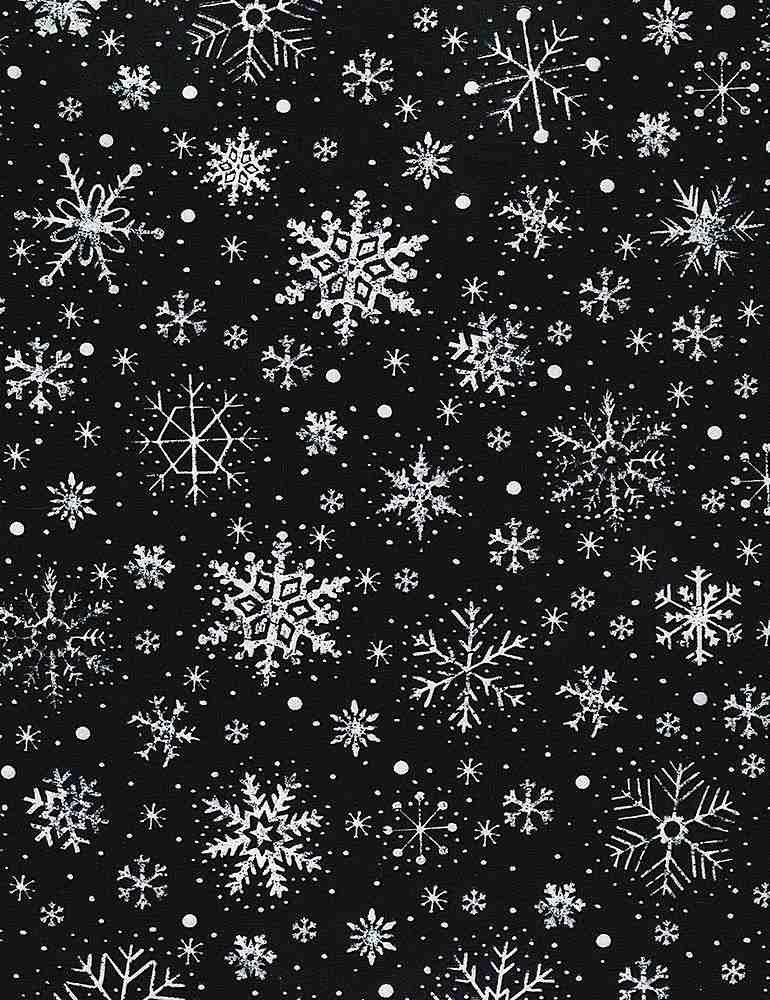 Silent Night Chalk Snowflakes BLACK