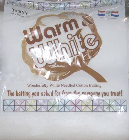 Batting Warm & White Cotton 90in x72 in TWIN