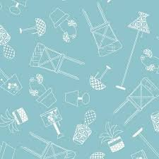 Chairs and Lamps - Blue