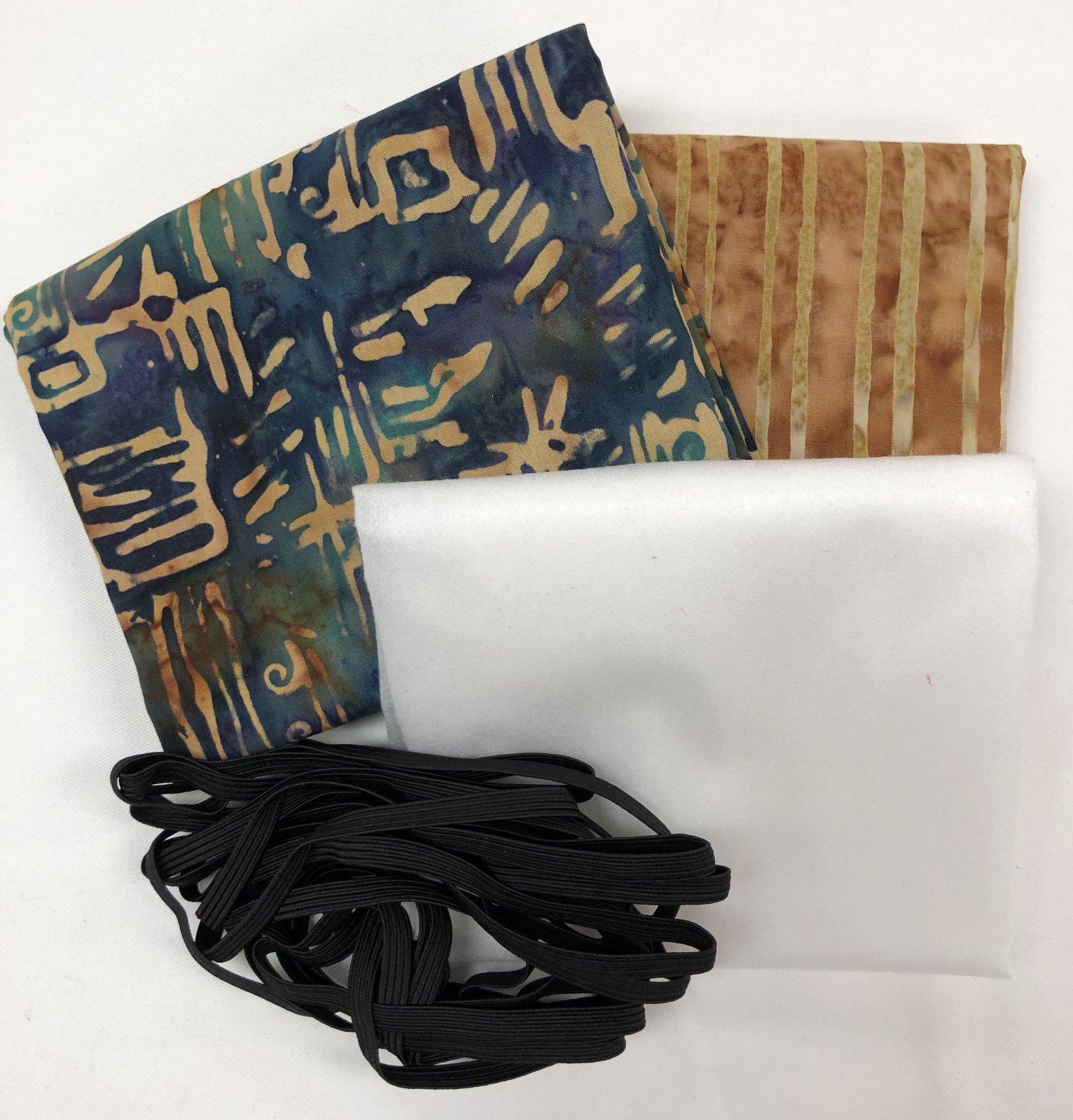 Mask Kit - Dark Teal Batik with Brown Batik