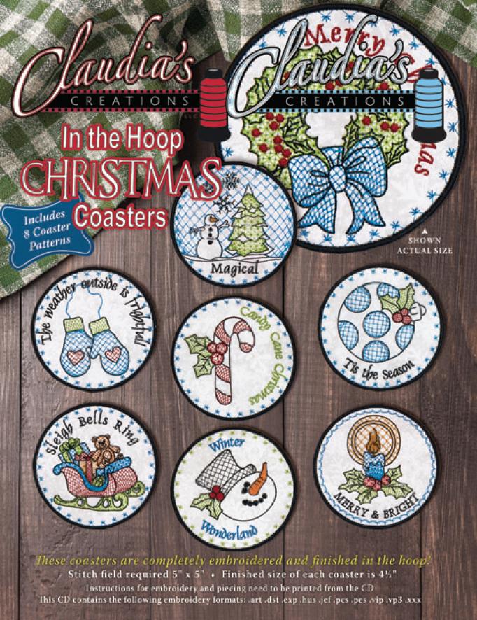 In The Hoop Christmas Coaster Set
