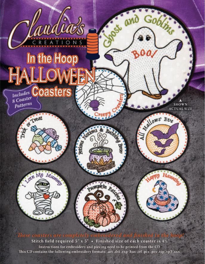 In The Hoop Halloween Coaster Set