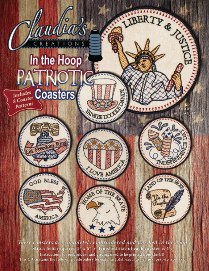 In The Hoop Patriotic Coaster Set