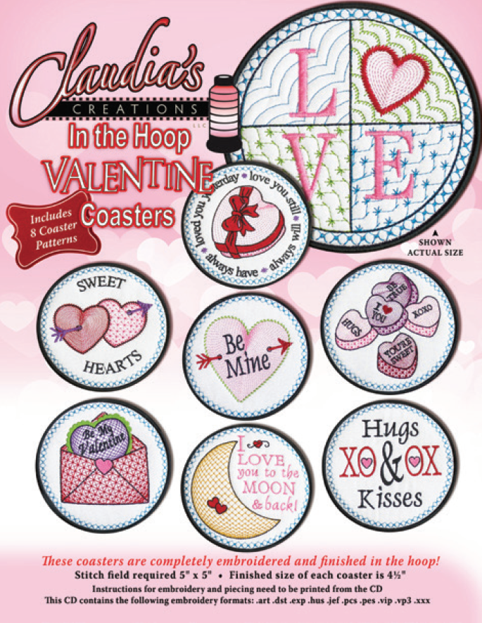 In The Hoop Valentine Coaster Set