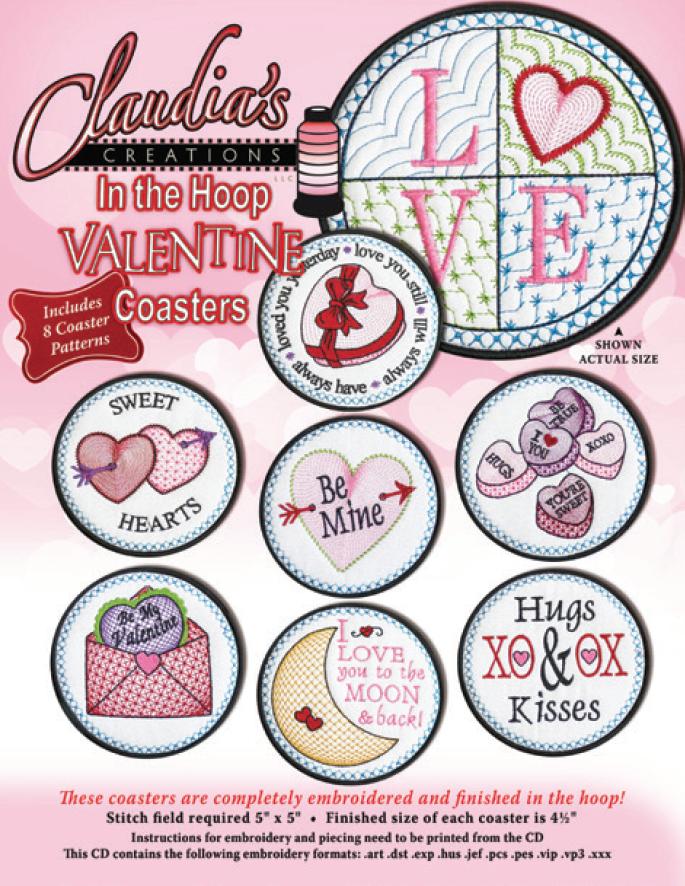 In The Hoop Valentine Coaster Set