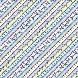 Embroidered Bias Strip - Aqua/Yellow