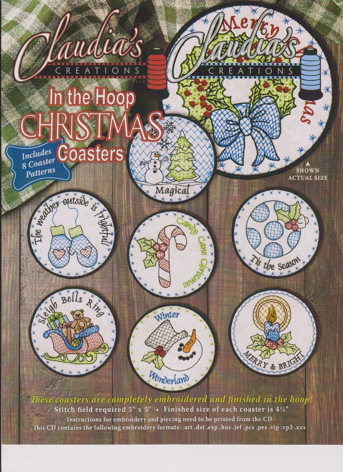 In the Hoop Christmas Coasters