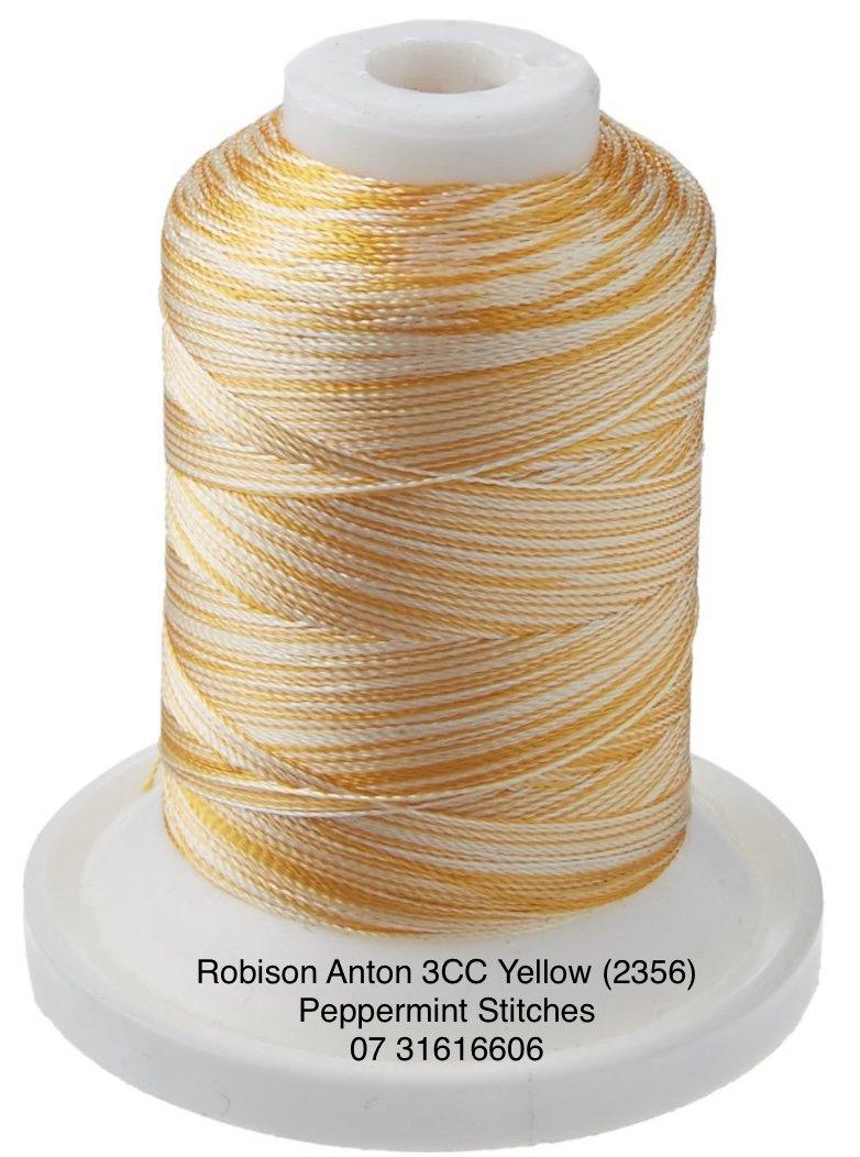 Robison Anton 3CC Yellow (2356)  Rayon Machine Embroidery Thread 700yds