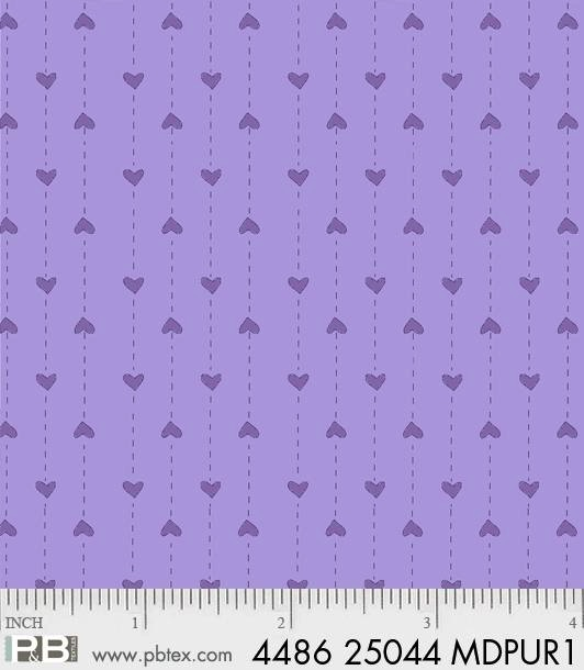 $24.00/m - Basically Hugs by Helen Stubbings for P&B Textiles - 25044 - Hearts in Purple