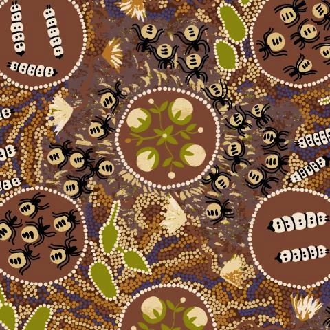 $24.75 - Indigenous Designer Fabric by Audrey Martin Napanangka for M&S Textiles Aust - WGBR - Witchety Grub in Brown