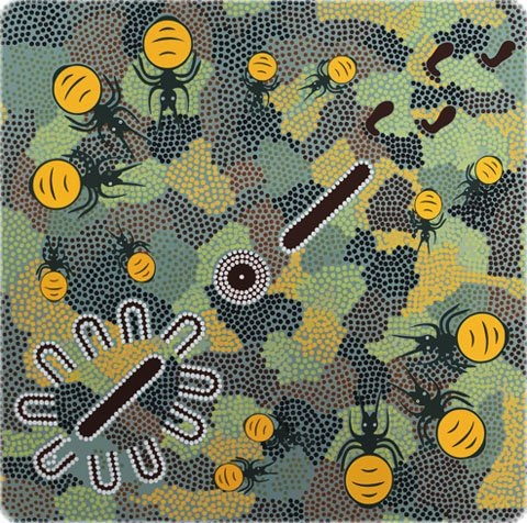 $24.75 - Indigenous Designer Fabric by Dick Brown for M&S Textiles - HAOG - Honey Ants in Olive Green