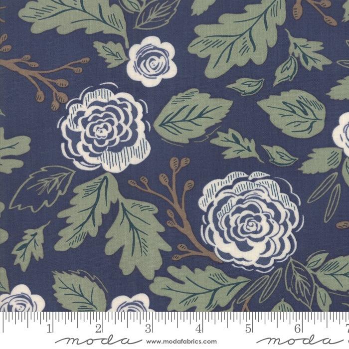$27.00/m - Harvest Road by Lella Boutique for Moda Fabrics - 5100-16 - Floral in Indigo/Dark Blue