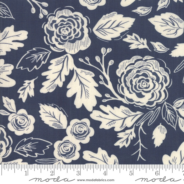 $27.00/m - Harvest Road by Lella Boutique for Moda Fabrics - 5100-26 - Floral in Indigo Eggshell/Dark Blue