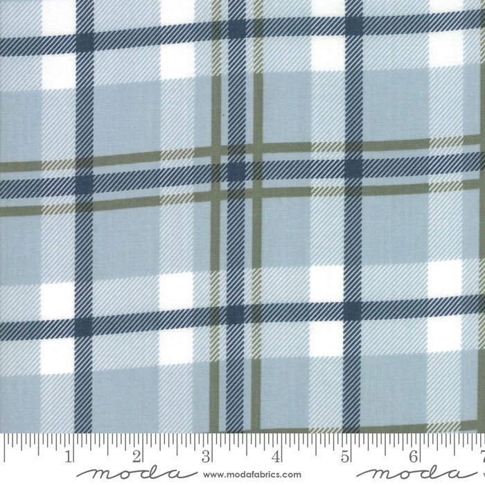 $27.00/m - Harvest Road by Lella Boutique for Moda Fabrics - 5102-15 - Forever Plaid in Smokey  Sky/Light Blue
