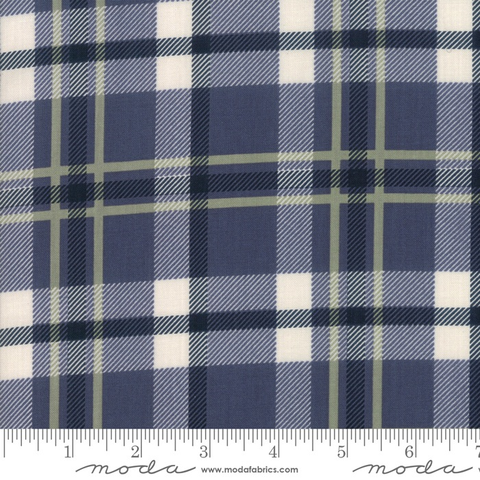 $27.00/m - Harvest Road by Lella Boutique for Moda Fabrics - 5102-16 - Forever Plaid in Indigo/Dark Blue