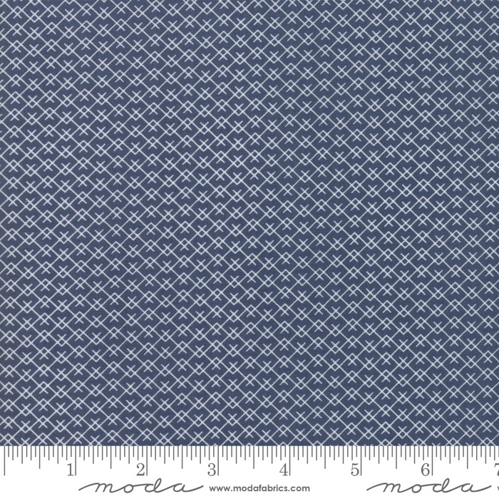 $27.00/m - Harvest Road by Lella Boutique for Moda Fabrics - 5105-16 - Mountainside in Indigo/Dark Blue