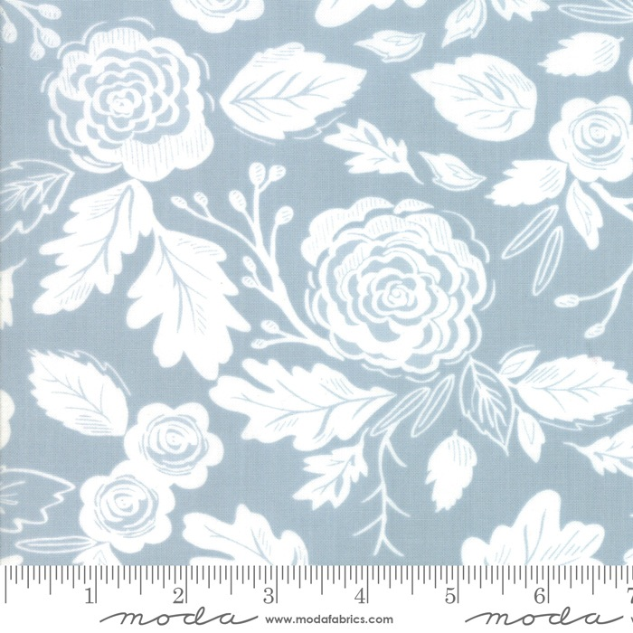 $27.00/m - Harvest Road by Lella Boutique for Moda Fabrics - Floral in Smokey Sky/Light Blue