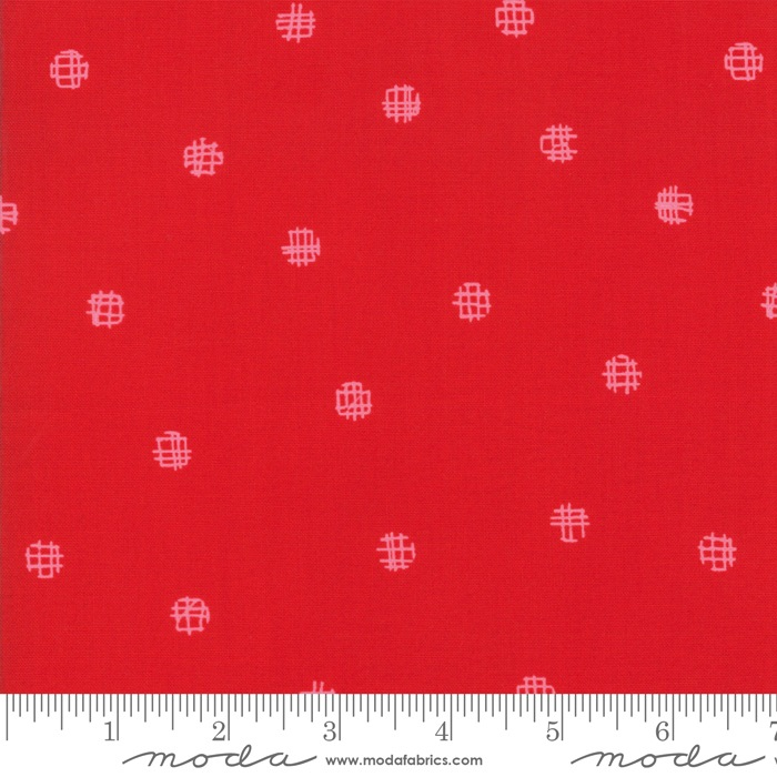 $27.00/m - Just Red by Zen Chic for Moda Fabrics - 1704-12 - Cross My Dots in Lipstick