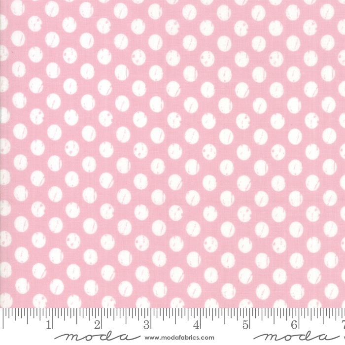 $27.00/m - Lollipop Garden by Lella Boutique for Moda Fabrics - 5085-12 - Whitewashed Dots in Pinkberry/Pink