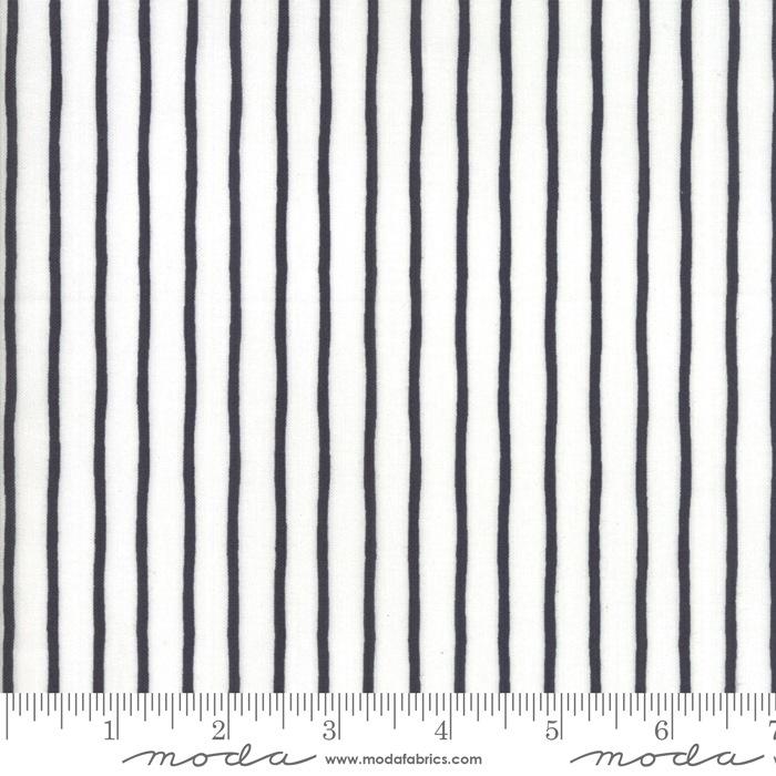 $27.00/m - Lollipop Garden by Lella Boutique for Moda Fabrics - 5086-21 - Handmade Stripe in Cloud Chalkboard/White